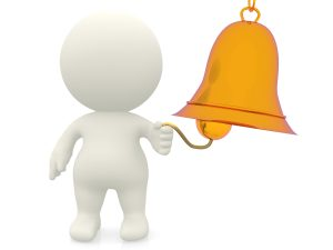3D man ringing the bell - isolated over a white background