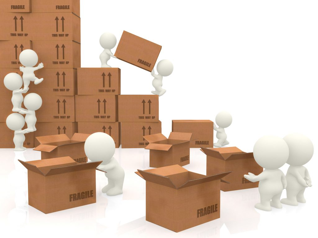 3d people piling up boxes isolated over a white background