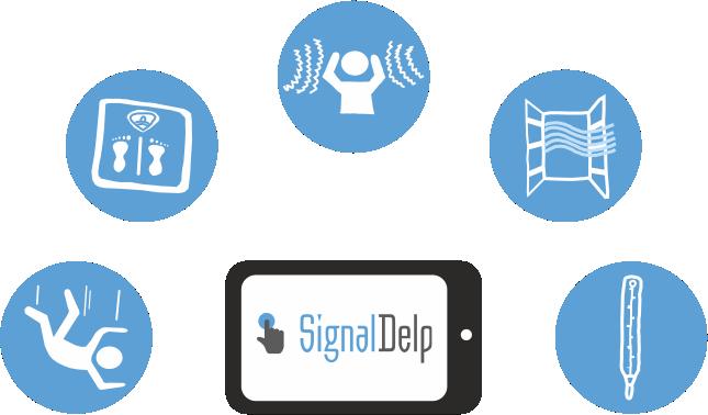 Bezdrátová signalizace a monitoring klienta SignalDelp monitoruje  teplotu, hluk, větrání, pád, váhu.